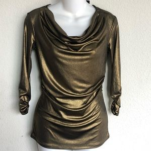 💥gold metallic , foiled foil stretch ruched top